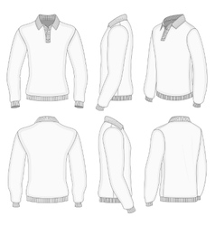 Mens white long sleeve polo shirt vector