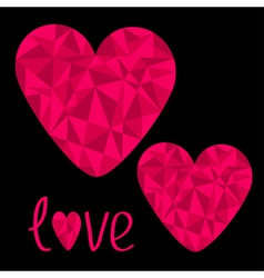 Two pink hearts polygonal effect love card vector