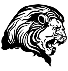 Lion head black white vector