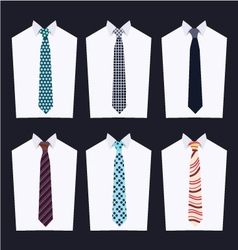 Set tie fashion of different neckties vector