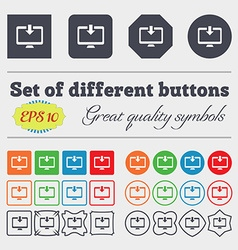 Download load backup icon sign big set of colorful vector