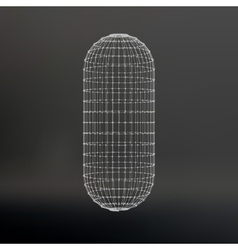Wireframe mesh polygonal capsule the capsule of vector
