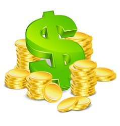 Sign dollar and gold coins vector