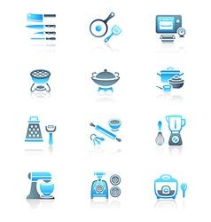 Cooking set - MARINE series vector image