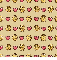 Seamless texture with owls and hearts vector