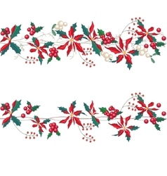 Endless horizontal pattern brush with christmas vector