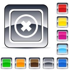 Delete cross square button vector image