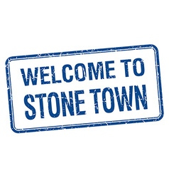 Welcome to stone town blue grunge square stamp vector