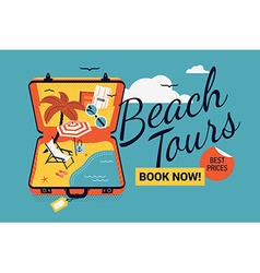 Beach tour promotional poster vector