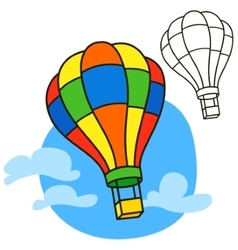 Air balloon Coloring book page vector image vector image