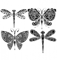butterfly tribal tattoo vector image