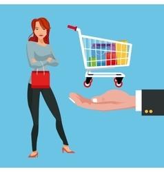 Cart girl and shopping design vector