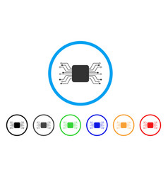 Chip circuit rounded icon vector