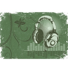 concert poster with headphones vector image vector image
