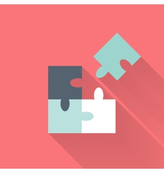 Flat puzzle icon vector