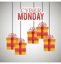 Gifts hanging cyber monday card vector