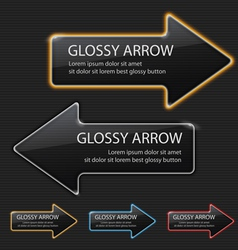 Glossy arrow on black background vector