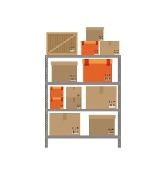 Gray shelves with sealed package vector