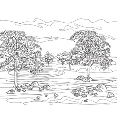 Hand draw decorative landscape trees and stones vector image vector image