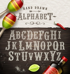 Hand drawn vintage alphabet old mexican signboard vector