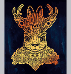 Ornate decorative jacalope magical creature art vector