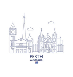 Perth city skyline vector