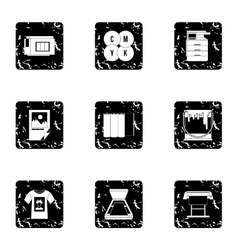 Printing services icons set grunge style vector