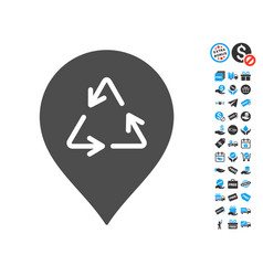 recycling marker icon with free bonus vector image