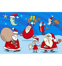 Santa clauses group cartoon vector