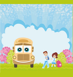 School bus and happy children vector
