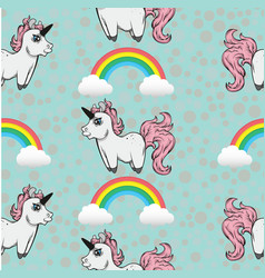 Seamless pattern with unicorns and rainbows vector
