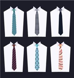 Set tie fashion of different neckties vector