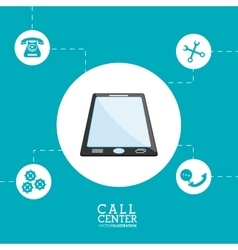 Smartphone call center design vector