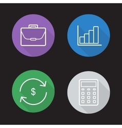 Stock exchange flat linear icons set vector image vector image