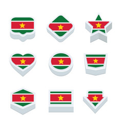 Suriname flags icons and button set nine styles vector