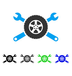 Tire service wrenches flat icon vector