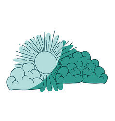 Watercolor silhouette of cumulus clouds and sun on vector