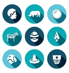 Set of africa icons african animal heat vector