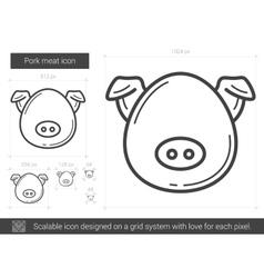 Pork meat line icon vector