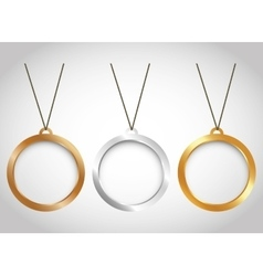 Three minimal necklaces icon image vector