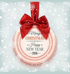 merry christmas and happy new year 2018 badge vector image