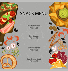 Snak restaurant menu vector