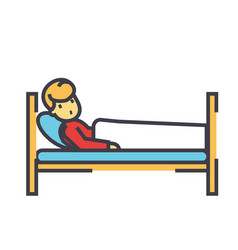 Patient in hospital bed clinic concept line vector