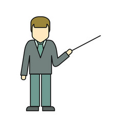Private man in business suit with pointer vector