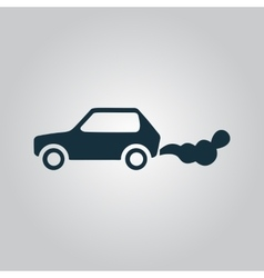 Car emits carbon dioxide vector