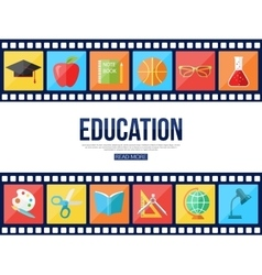 Film strips and set of flat school education icons vector