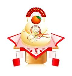 Kagami mochi decoration vector