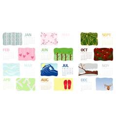 2012 illustrated calendar vector
