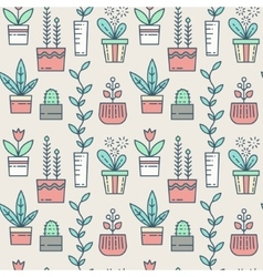 Line houseplants icons seamless pattern vector