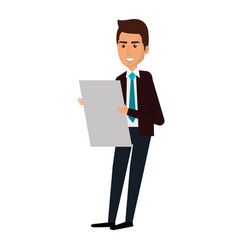businessman with documents avatar character icon vector image